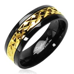Solid Titanium with a Gold Accented Band on Black Ring