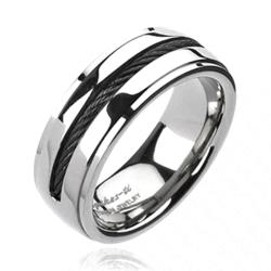Solid Titanium Black Plated Chain Inlay Band Ring - Thumbnail 0
