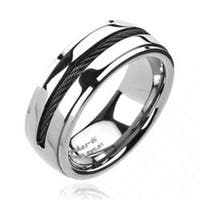 Solid Titanium Black Plated Chain Inlay Band Ring