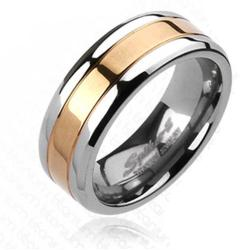 Solid Titanium Rose Gold Plated Center Band Ring