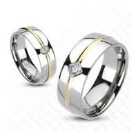 Solid Titanium Gold Plated CZ Round Stripe Center Band Ring
