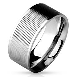Multi Grooved Lines Center 316L Stainless Steel Band Ring - Thumbnail 0