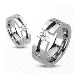 Solid Titanium Triple CZ Princess Cut Center Band Ring - Thumbnail 0