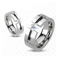 Solid Titanium Triple CZ Princess Cut Center Band Ring