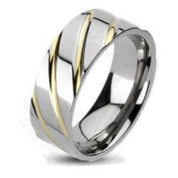 Solid Titanium Diagonal Multi-Groove Gold Plated Band Ring - Thumbnail 0