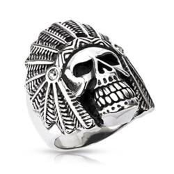Stainless Steel Apache Death Skull Wide Cast Ring - Thumbnail 0