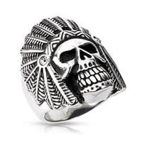 Stainless Steel Apache Death Skull Wide Cast Ring