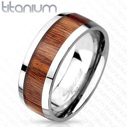 Wood Print Inlayed Titanium Ring - Thumbnail 0
