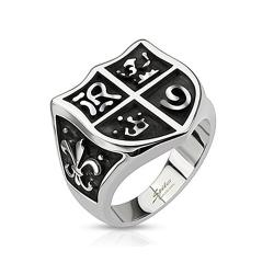 Medieval Shield and Fleur de Lis Wide Cast Stainless Steel Ring - Thumbnail 0