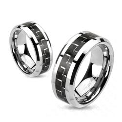 Black Carbon Fiber Inlay Band Ring Solid Titanium - Thumbnail 0