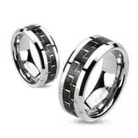 Black Carbon Fiber Inlay Band Ring Solid Titanium