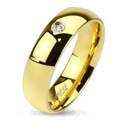 Classic Gold IP Solid Titanium Band Ring with Single CZ