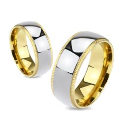 Grooved Edges Gold Plated with Center Titanium Band Ring - Thumbnail 0