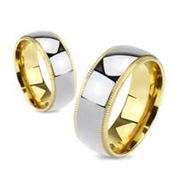 Grooved Edges Gold Plated with Center Titanium Band Ring