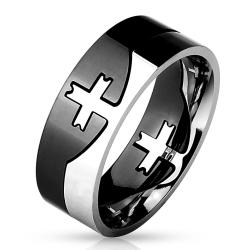 Cross Center Black And Steel 2-Tone Puzzle Ring 316L Stainless Steel - Thumbnail 0