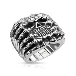Skull Wide Cast Skeleton Stainless Steel Ring - Thumbnail 0