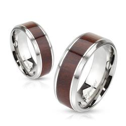 Wood Center Stainless Steel Beveled Edge Band Ring