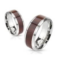 Wood Center Stainless Steel Beveled Edge Band Ring