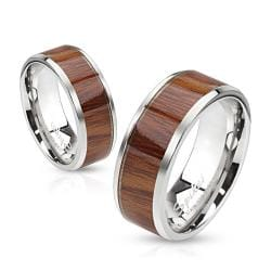 Wood Pattern Center Stainless Steel Band Ring