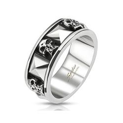 Skull and Pyramid Combination Cast Band Stainless Steel Ring - Thumbnail 0