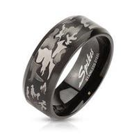 Camouflage Laser Etched Black IP Over Stainless Steel Band Ring