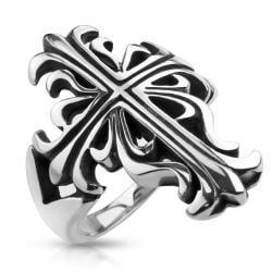 Celtic Cross Cast Stainless Steel Ring - Thumbnail 0