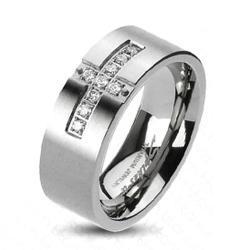 Solid Titanium Cross Paved Multi CZs Band Ring - Thumbnail 0