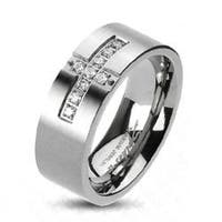 Solid Titanium Cross Paved Multi CZs Band Ring