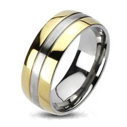 Solid Titanium 2-Tone Gold Plated Edges Band Ring - Thumbnail 0