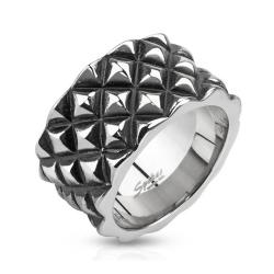 Diamond Scale Patterned Cast Stainless Steel Ring - Thumbnail 0