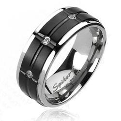 Solid Titanium Black Plated Grooved Center Multi-CZs Ring - Thumbnail 0
