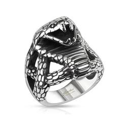 Fierce Cobra Wide Cast Stainless Steel Ring - Thumbnail 0