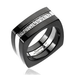 Solid Titanium 2-Tone Black Plated Multi-CZ Square Ring - Thumbnail 0