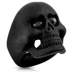Matte Black Skull With CZ Heart Eyes Stainless Steel Ring - Thumbnail 0