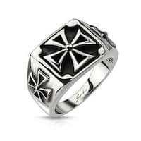 Triple Iron Cross Cast Stainless Steel Ring