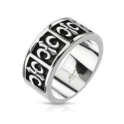 Five Royal Fleur De Lis Cast Band Stainless Steel Ring - Thumbnail 0
