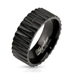 Zigzag Cut Black IP Band Stainless Steel Ring - Thumbnail 0
