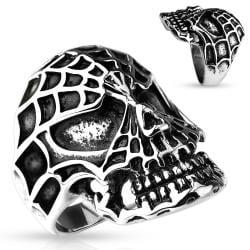 Spider Web Skull 316L Stainless Steel Cast Ring - Thumbnail 0