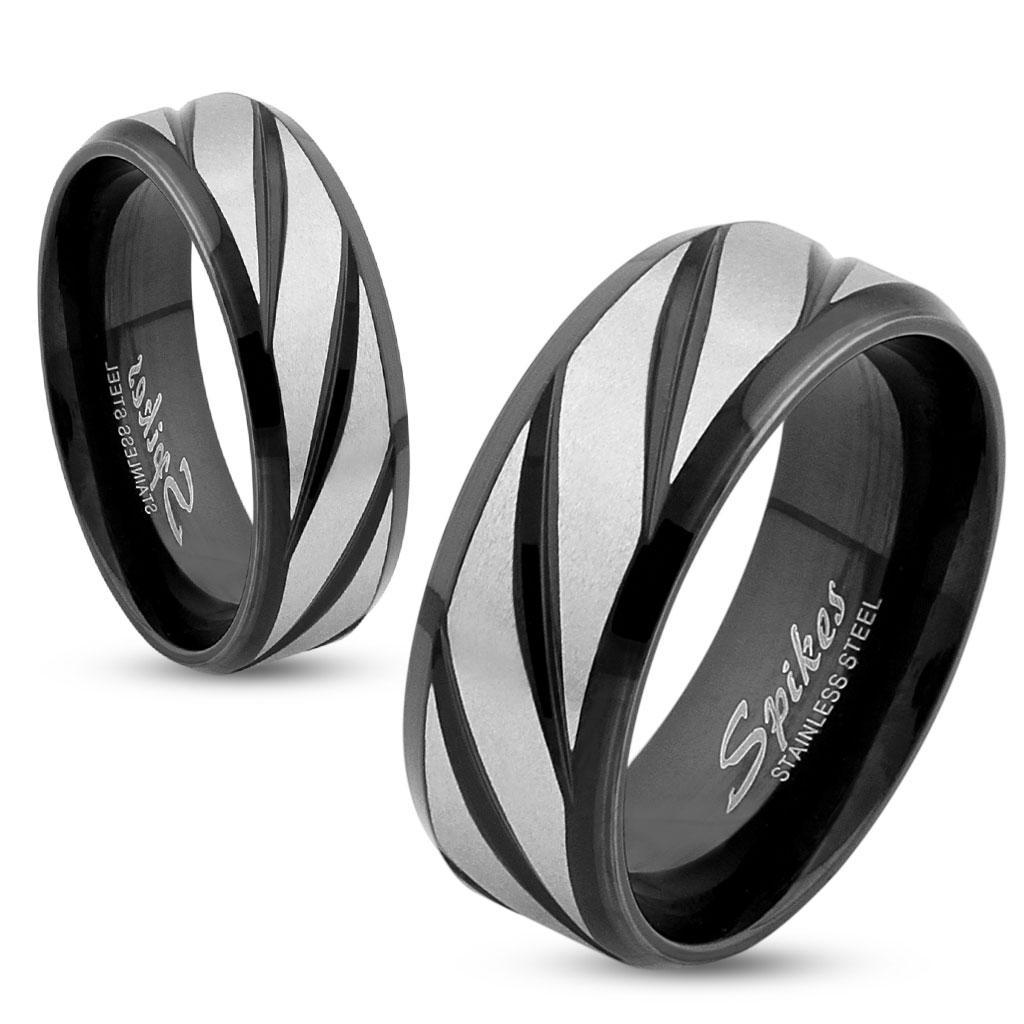 Diagonal Striped Black IP Stainless Steel Ring