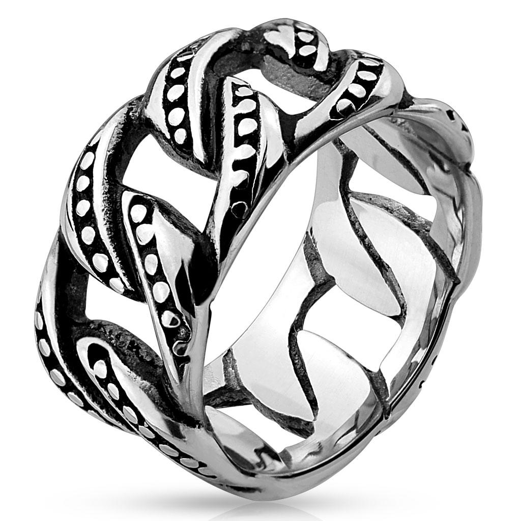 Casted Chain Links Stainless Steel Ring
