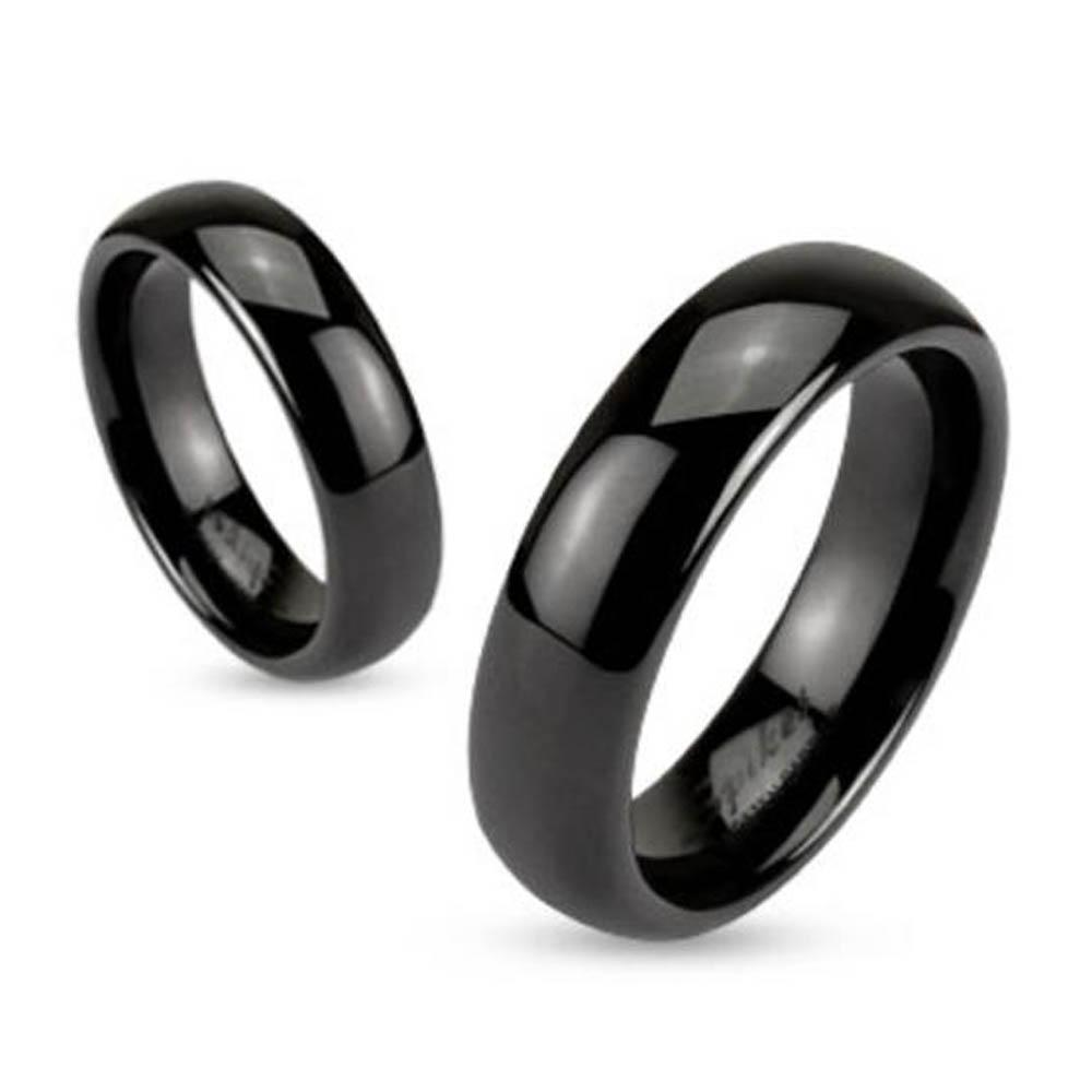 Black Ceramic Dome 6mm Traditional Wedding Band Ring