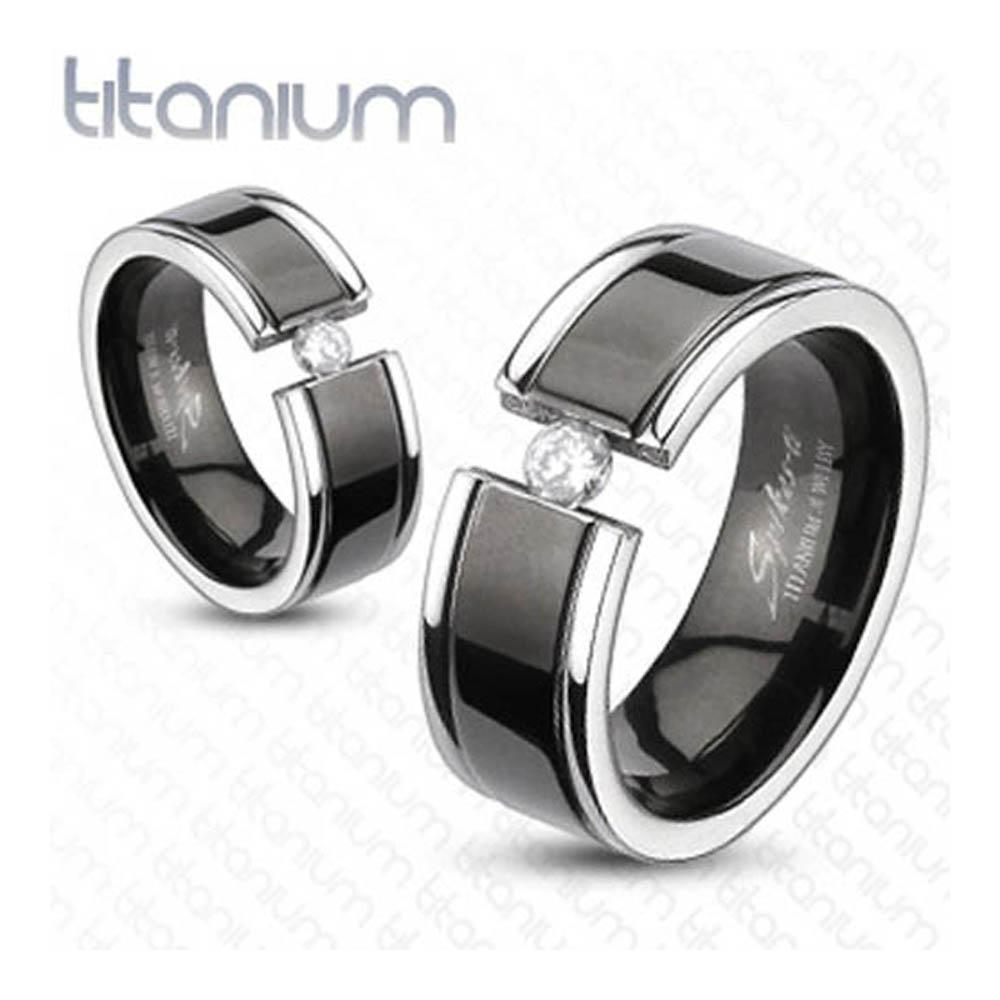 Solid Titanium Black Plated Center Grooved Band Ring with CZ