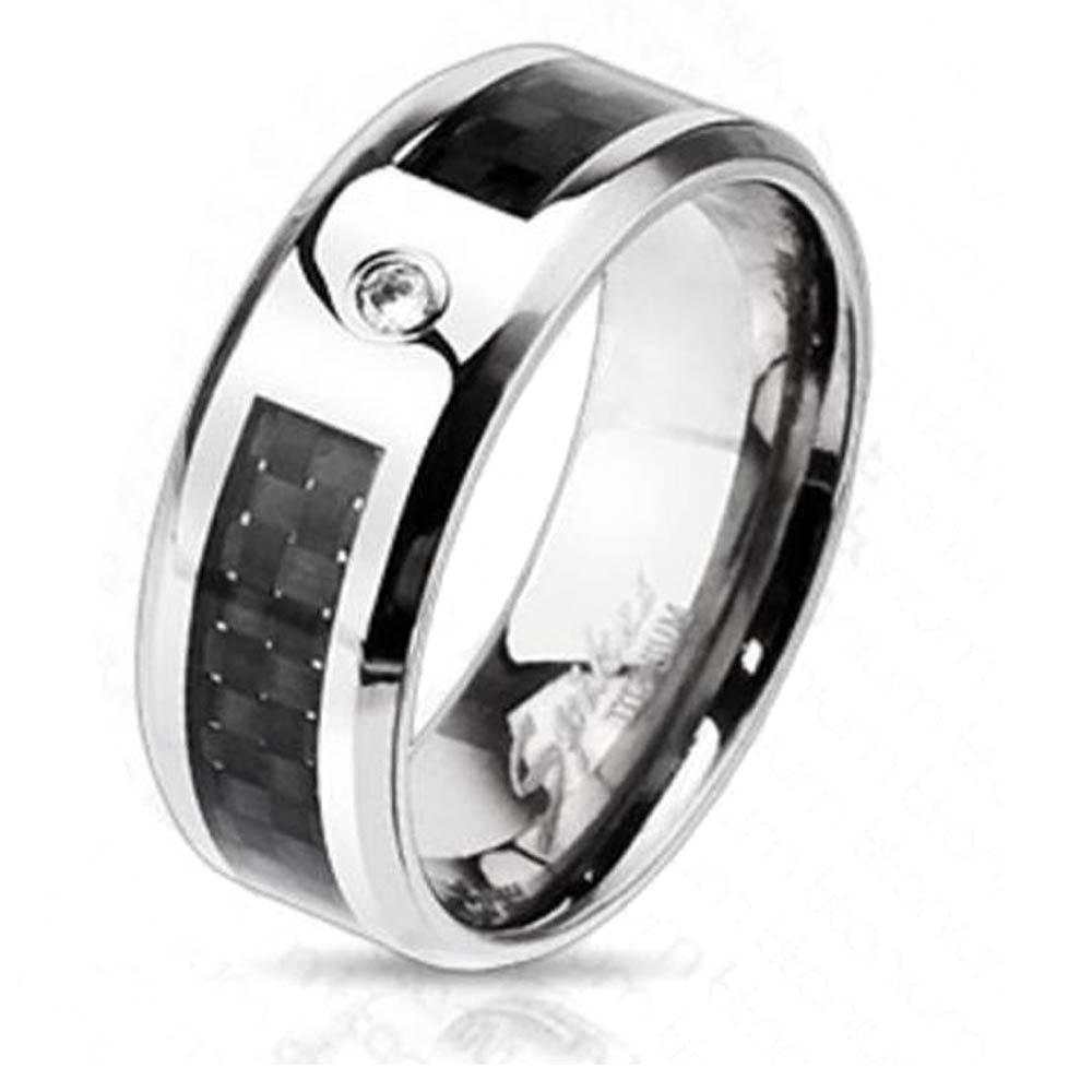Solid Titanium Black Graphite Carbon Fiber Inlay CZ Center Band Ring