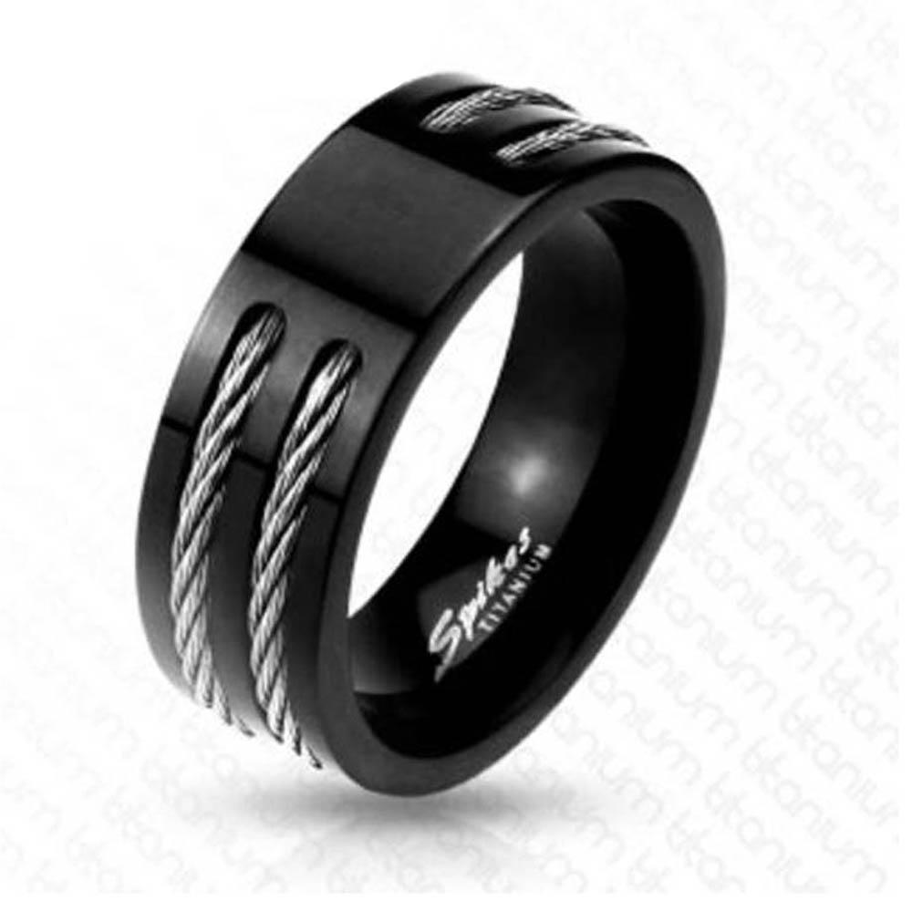 Two Wire in Slit Center Black Band Ring Solid Titanium
