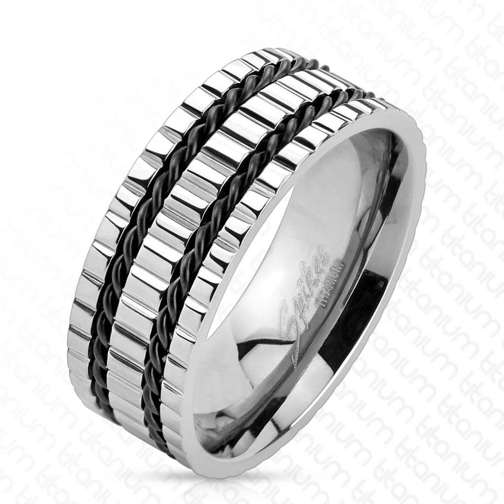 Multi Grooved Double Black Wires Solid Titanium Ring