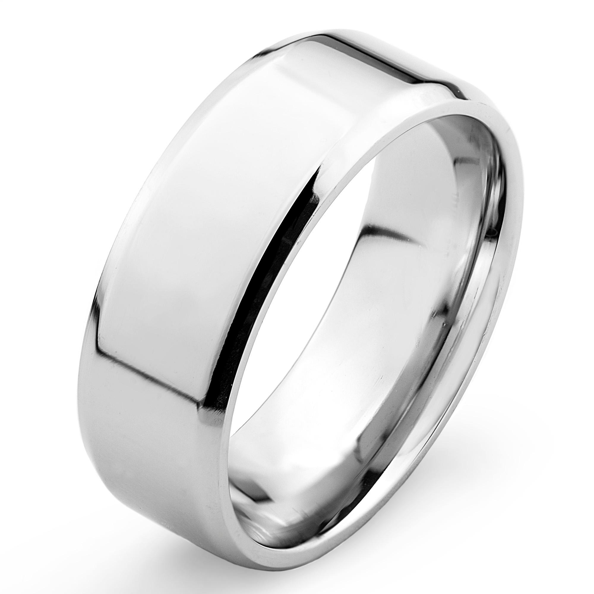 316L Stainless Steel Mirror Polished Flat Band with Beveled Edge Ring - Thumbnail 0