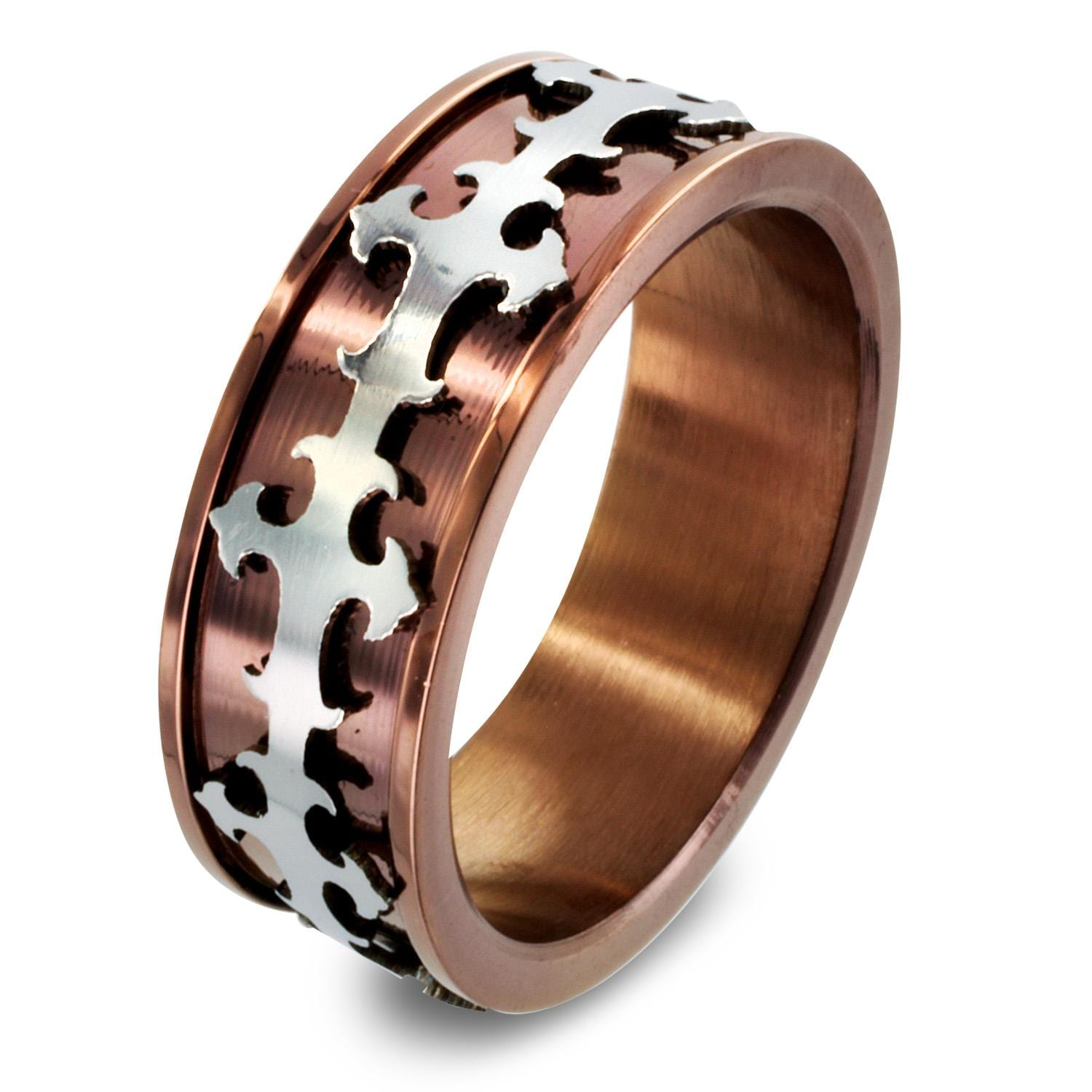 Stainless Steel Copper Plated Royal Cross Loop Center Band Ring