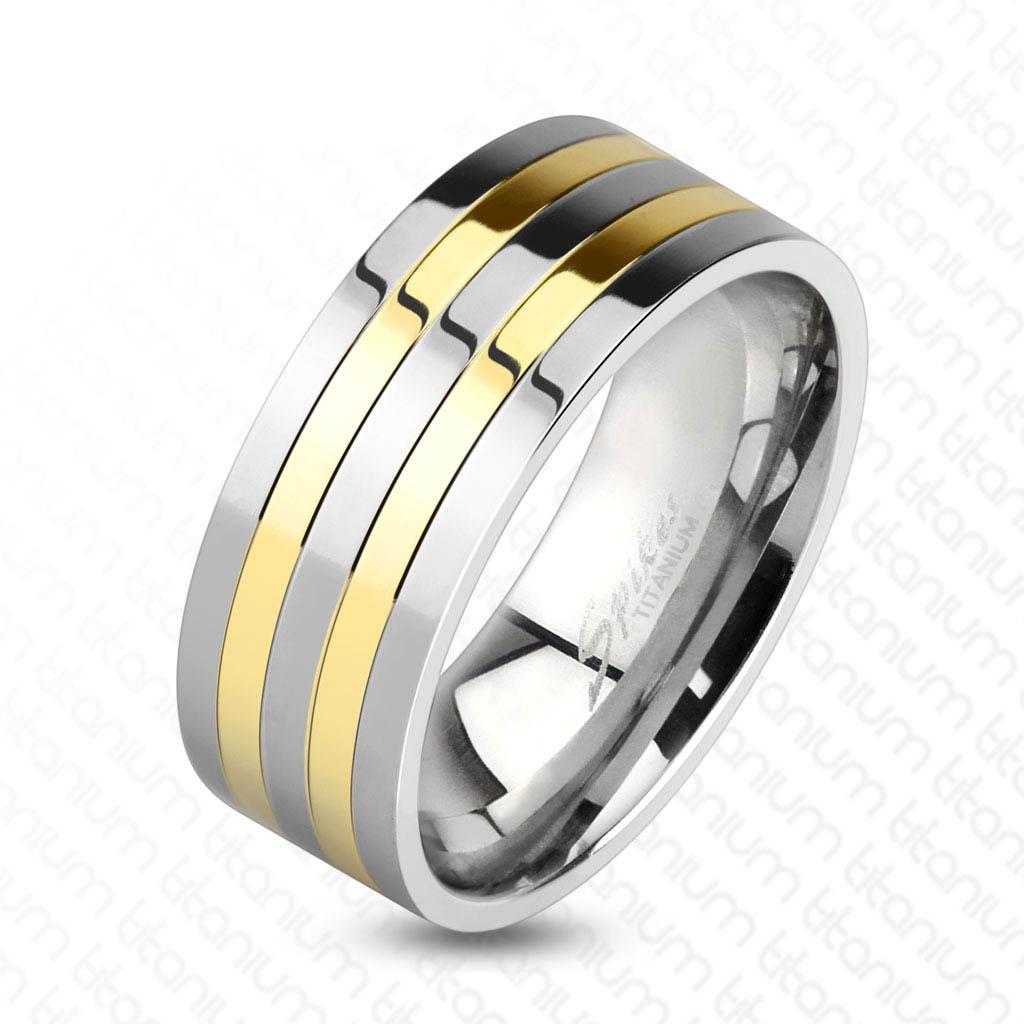 Two Toned Silver and Gold IP Lines Solid Titanium Ring