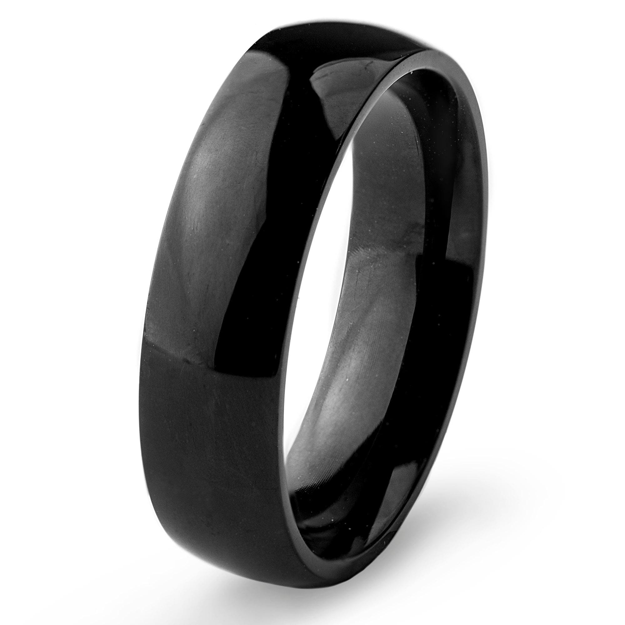 Stainless Steel 6mm Wide Glossy Mirror Polished Black Plated Dome Band Ring