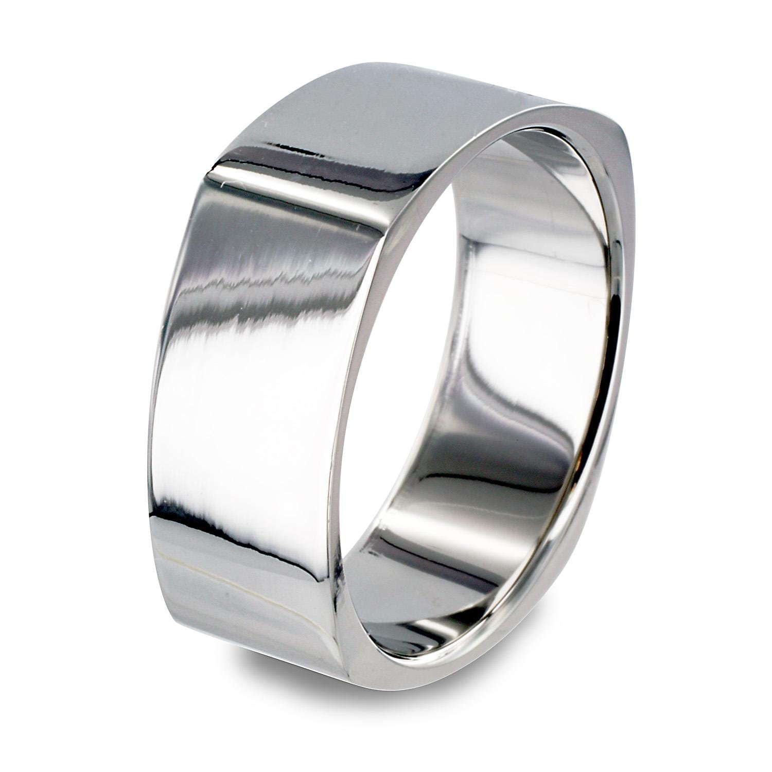 Stainless Steel Mirror Polished Square Band Ring